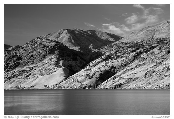 Hills bordering Lake Chelan. Washington (black and white)