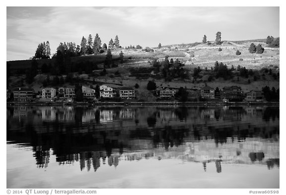 Houses reflected in Lake Chelan. Washington (black and white)