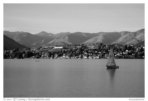 Sailboat, Lake Chelan. Washington (black and white)