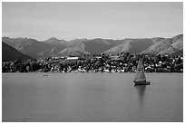 Sailboat, Lake Chelan. Washington ( black and white)