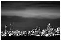 Seattle skyline at light from Puget Sound. Seattle, Washington (black and white)