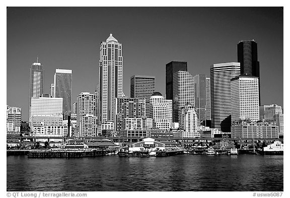 Seattle skyline seen from the water. Seattle, Washington (black and white)