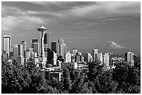 Seattle skyline with the Needle and Mt Rainier, afternoon. Seattle, Washington ( black and white)