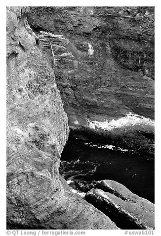 Sea cliffs, Cape Flattery, Olympic Peninsula. Olympic Peninsula, Washington (black and white)