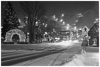 Street and town square with fresh snow by night. Jackson, Wyoming, USA ( black and white)