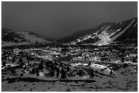 View from above at night. Jackson, Wyoming, USA ( black and white)