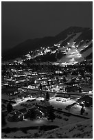 Town and Snow King ski hill from above at night. Jackson, Wyoming, USA ( black and white)