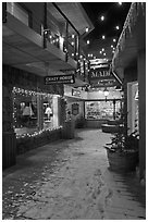 Shopping alley by night. Jackson, Wyoming, USA ( black and white)