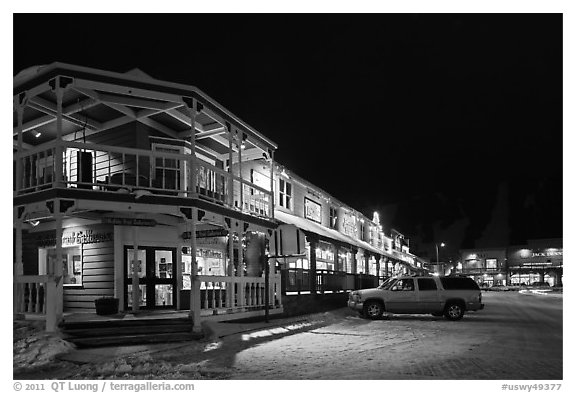 Town square stores by night. Jackson, Wyoming, USA (black and white)