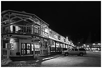 Town square stores by night. Jackson, Wyoming, USA ( black and white)