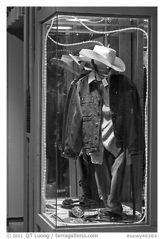 Western-style fashion on display. Jackson, Wyoming, USA (black and white)