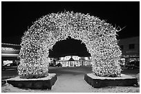 Antler arch and galleries by night in winter. Jackson, Wyoming, USA ( black and white)