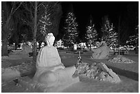 Ice sculptures on Town Square by night. Jackson, Wyoming, USA (black and white)