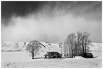 Historic Miller House estate in winter, , National Elk Refuge. Jackson, Wyoming, USA (black and white)