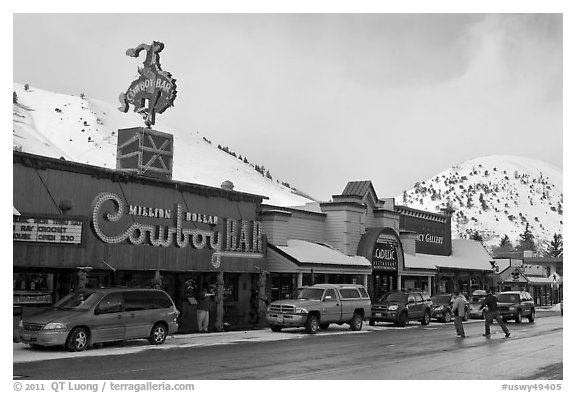 Downtown Jackson in winter. Jackson, Wyoming, USA (black and white)