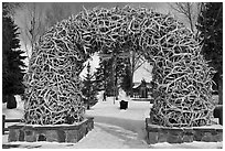 Antler Arch and Town Square in winter. Jackson, Wyoming, USA ( black and white)