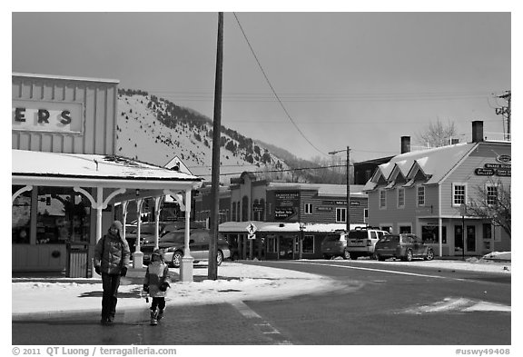 Downtown Jackson streets in winter. Jackson, Wyoming, USA (black and white)