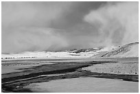Snowy valley with stream, National Elk Refuge. Jackson, Wyoming, USA ( black and white)