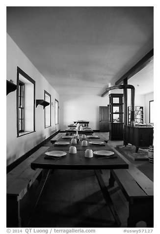 Dinning room inside barracks. Fort Laramie National Historical Site, Wyoming, USA (black and white)