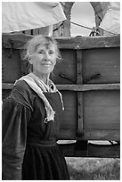 Woman dressed as pionneer. Fort Laramie National Historical Site, Wyoming, USA ( black and white)