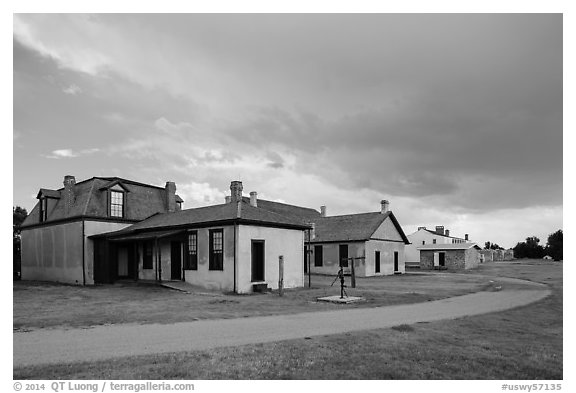Path and buildings. Fort Laramie National Historical Site, Wyoming, USA (black and white)