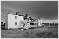 Old Bedlam, oldest building in Wyoming. Fort Laramie National Historical Site, Wyoming, USA ( black and white)