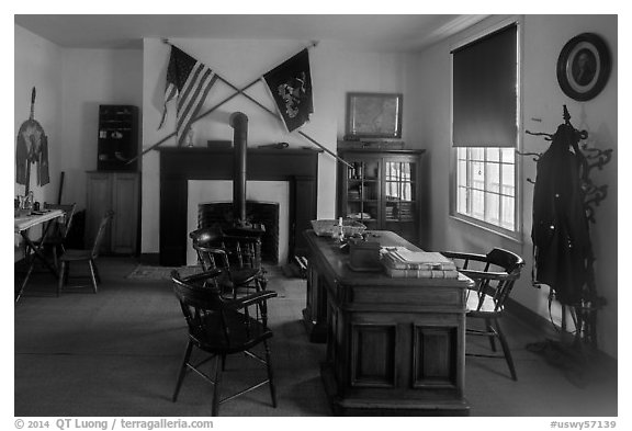 Officer office. Fort Laramie National Historical Site, Wyoming, USA (black and white)