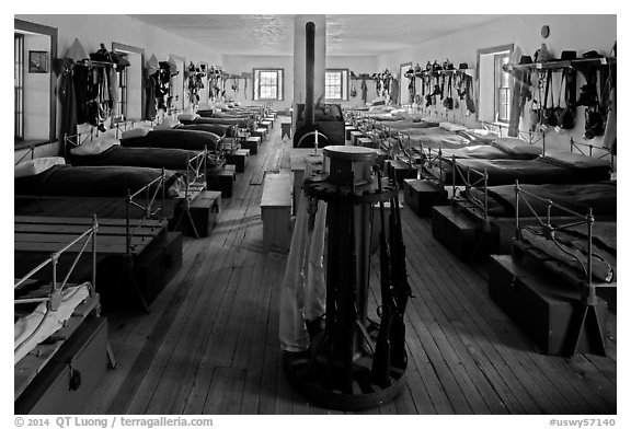 Barrack dorm. Fort Laramie National Historical Site, Wyoming, USA (black and white)