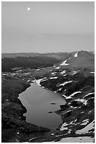 Lake and moon, dusk, Beartooth Range, Shoshone National Forest. Wyoming, USA (black and white)