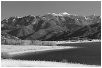 Palissades Reservoir and Snake Range. Wyoming, USA (black and white)