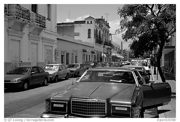 Old car in a street, Ponce. Puerto Rico (black and white)