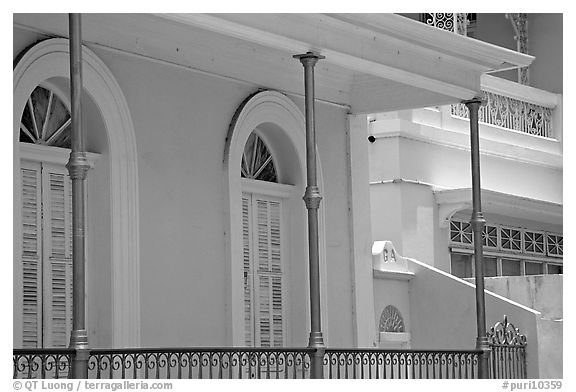 Detail of porch, Ponce. Puerto Rico (black and white)
