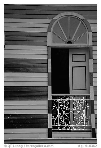 Window with red  shutters and striped walls,  Parc De Bombas, Ponce. Puerto Rico (black and white)