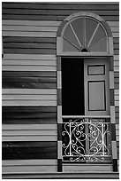 Window with red  shutters and striped walls,  Parc De Bombas, Ponce. Puerto Rico ( black and white)