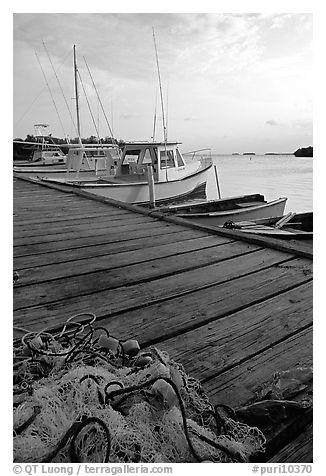 Pier and small boats, La Parguera. Puerto Rico (black and white)