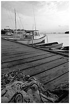 Pier and small boats, La Parguera. Puerto Rico ( black and white)