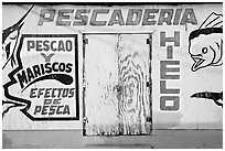 Wall of a fishery, La Parguera. Puerto Rico ( black and white)