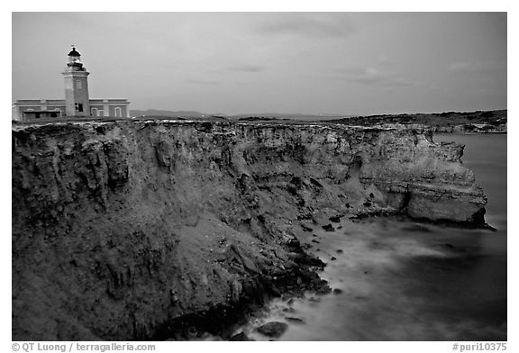 Lighthouse and cliffs at dusk, Cabo Rojo. Puerto Rico (black and white)