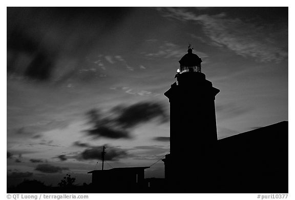 Lighthouse at dusk, Cabo Rojo. Puerto Rico (black and white)