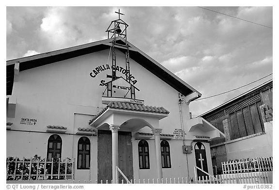 Front of a church, La Parguera. Puerto Rico (black and white)