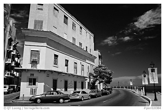 Multi-story building painted with pastel colors, old town. San Juan, Puerto Rico (black and white)