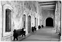 Corridor in El Castillo Del Morro. San Juan, Puerto Rico (black and white)