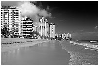 Beach and waterfront, new town. San Juan, Puerto Rico (black and white)