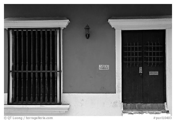 Doors and blue walls. San Juan, Puerto Rico (black and white)
