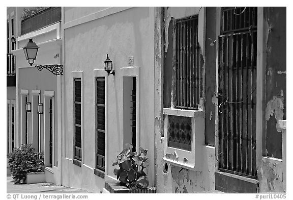 Row of houses painted in bright colors. San Juan, Puerto Rico (black and white)