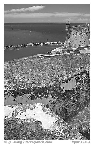 Thick defensive walls of El Morro Fortress. San Juan, Puerto Rico (black and white)
