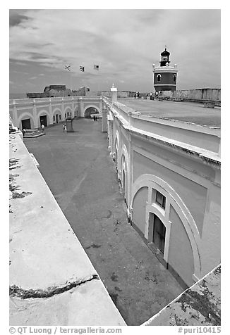 Inside courtyard, El Morro Fortress. San Juan, Puerto Rico (black and white)