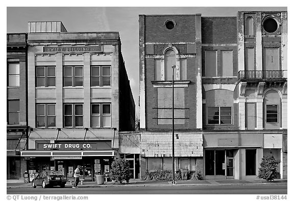Historic commercial buildings. Selma, Alabama, USA (black and white)