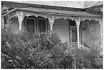 House with crooked porch. Selma, Alabama, USA ( black and white)