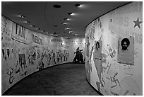 Inside the Civil Rights Memorial. Montgomery, Alabama, USA ( black and white)